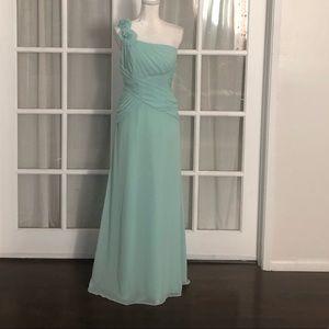 David's Bridal mint one shoulder bridal gown